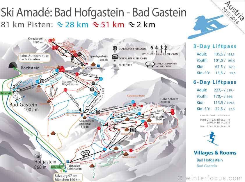 Panorama Karte Amadé - Bad Hofgastein-Bad Gastein