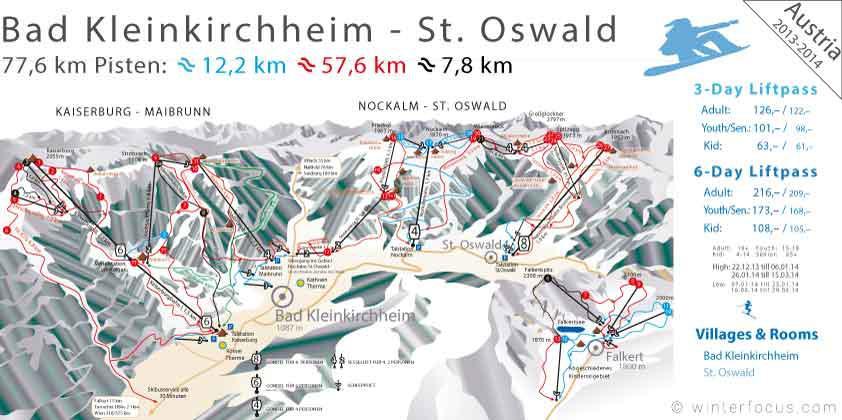 Panorama Karte Bad Kleinkirchheim Nockalm - St.Oswald