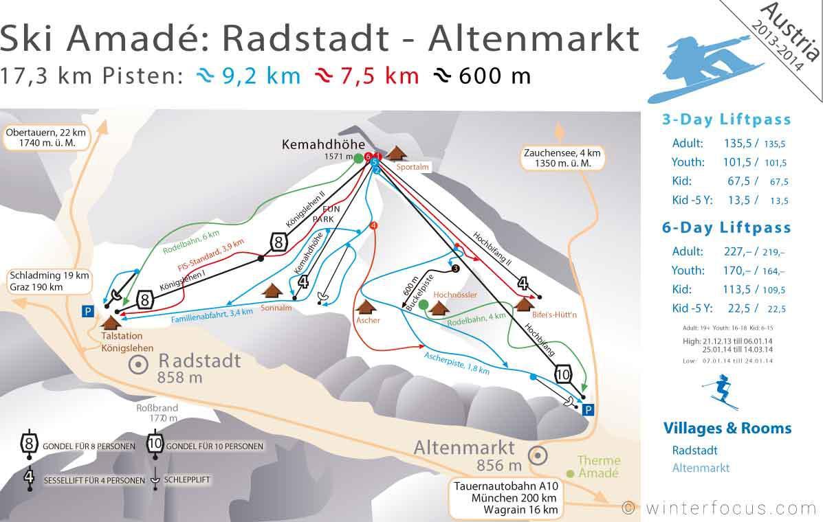 Panorama Karte Ski Radstadt & Ski Altenmarkt