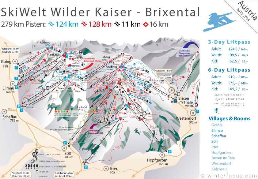 Panorama Karte SkiWelt Wilder Kaiser - Brixental