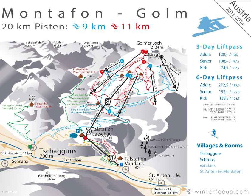 Panorama Karte Montafon - Golm