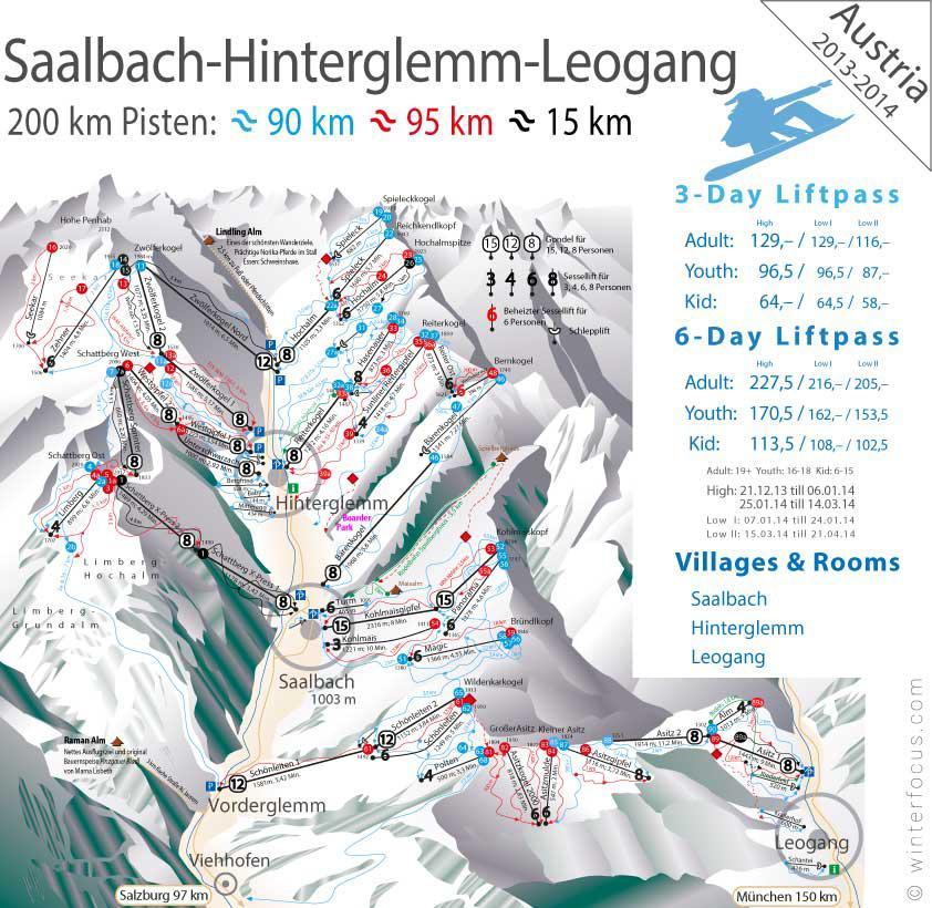 Panorama Karte Saalbach-Hinterglemm-Leogang