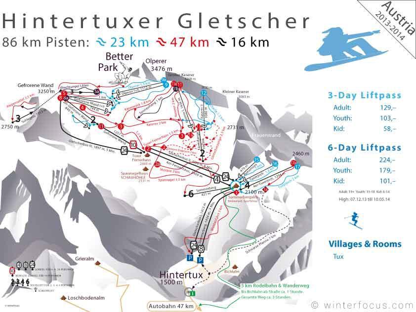 Panorama Karte Zillertal - Hintertuxer Gletscher