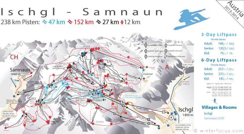 Panorama Karte Ischgl Skigebiet