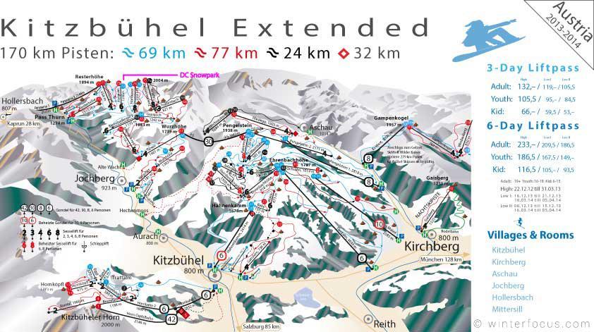 Panorama Karte Skigebiet Kitzbühel-Jochberg-PassThurn
