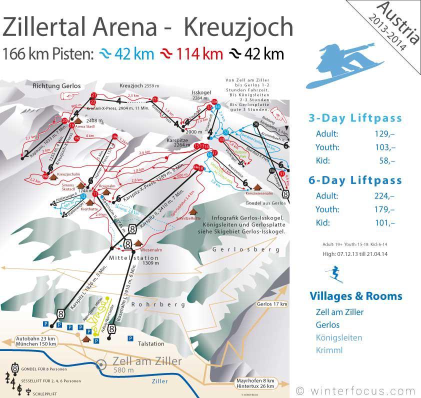 Panorama Karte Zillertal Arena - Kreuzjoch