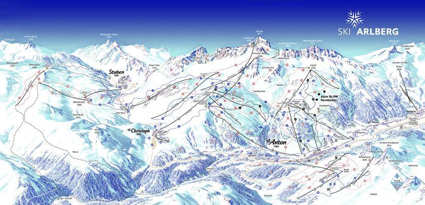 Panorama Karte St Anton Skigebiet