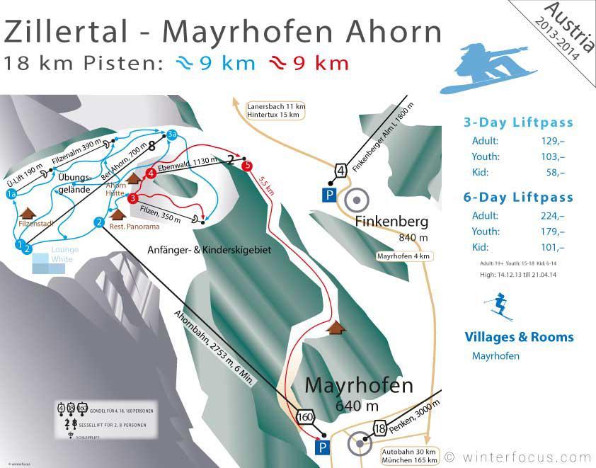 Panorama Karte Zillertal - Ahorn
