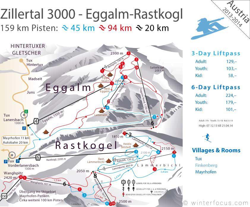 Panorama Karte Zillertal 3000 - Rastkogel