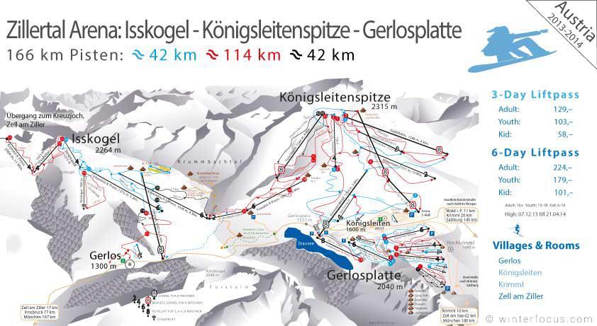 Panorama Karte Zillertal Arena - Königsleitenspitze